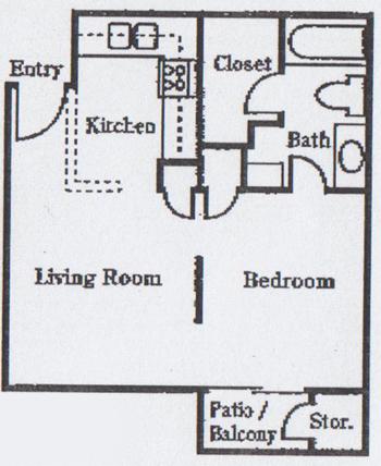 470 sq. ft. floor plan