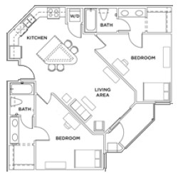 989 sq. ft. 2x2 B floor plan