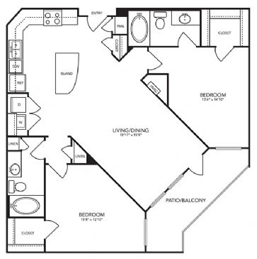 1,126 sq. ft. B5 floor plan
