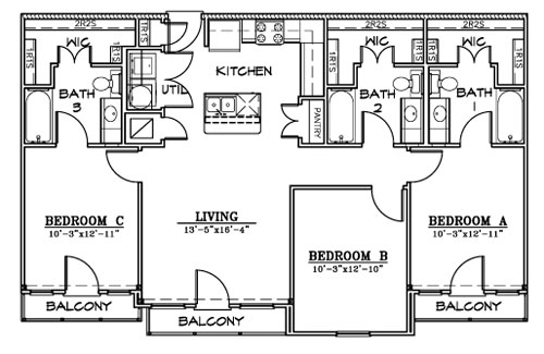 1,202 sq. ft. C2 floor plan