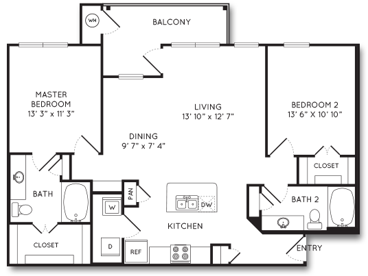 1,156 sq. ft. B6 floor plan