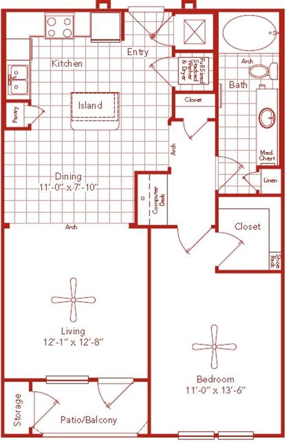 811 sq. ft. Ardmore floor plan