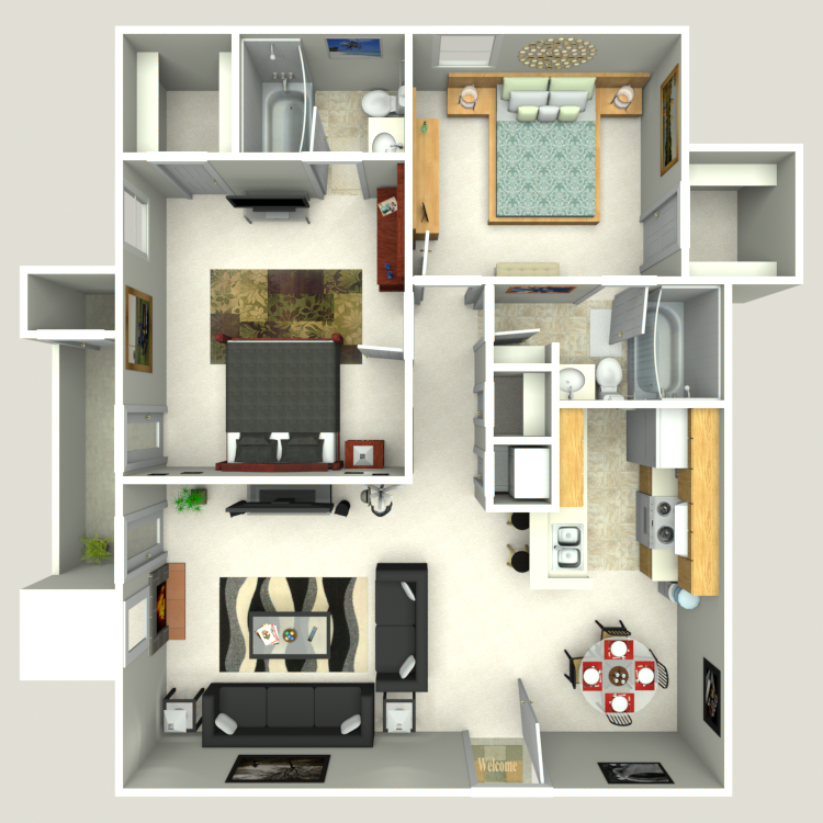 905 sq. ft. B1/B2 floor plan