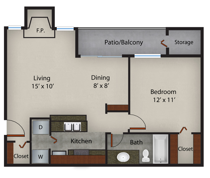 689 sq. ft. to 701 sq. ft. Hibiscus fp floor plan