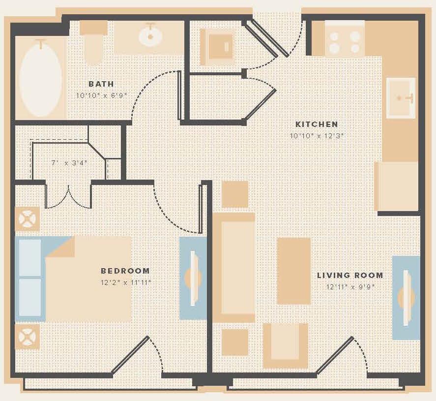 552 sq. ft. E4 floor plan