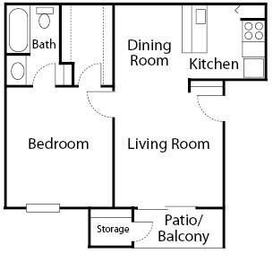 575 sq. ft. Aspen floor plan