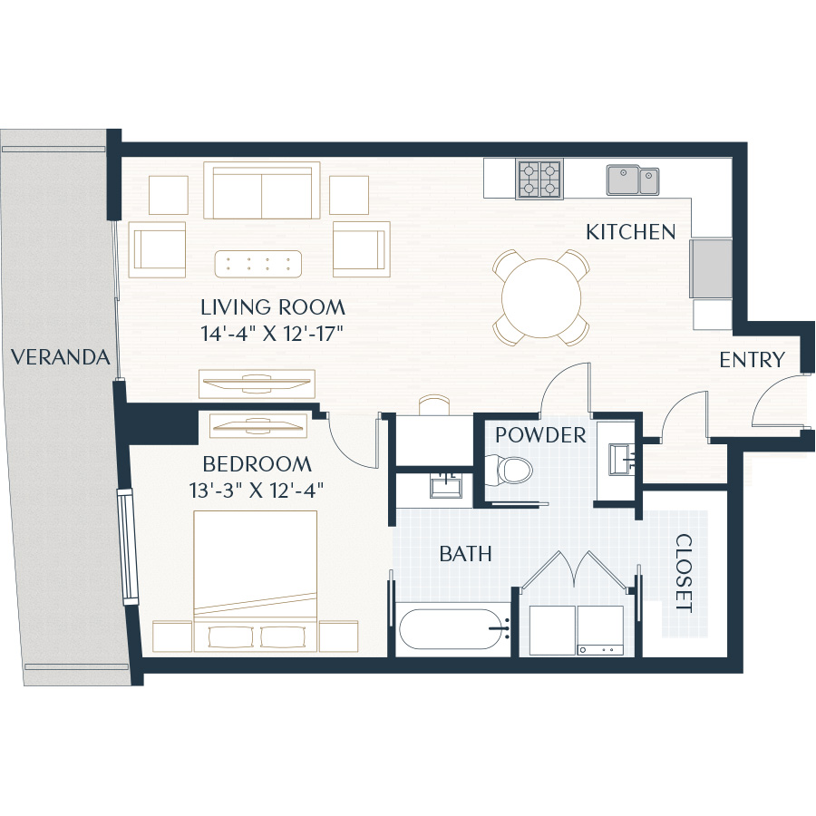 878 sq. ft. A2 floor plan