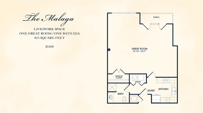 815 sq. ft. Malaga floor plan