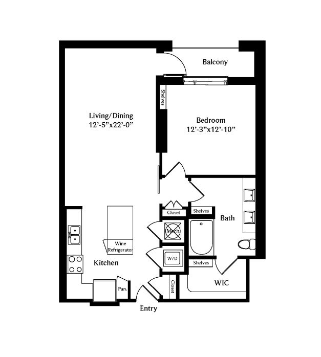 867 sq. ft. A4D floor plan