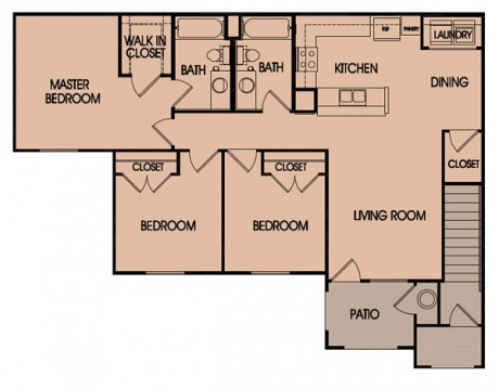 1,165 sq. ft. 60% floor plan