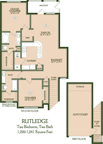 1,220 sq. ft. to 1,241 sq. ft. Rutledge floor plan