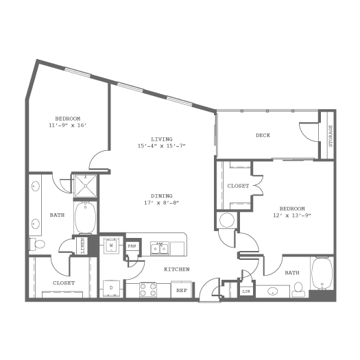 1,268 sq. ft. B8 floor plan