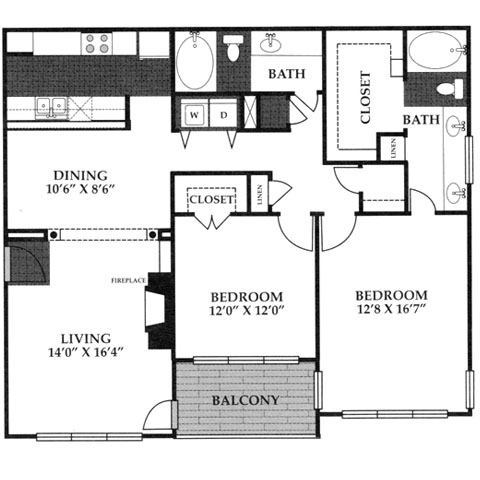 1,286 sq. ft. B4 floor plan