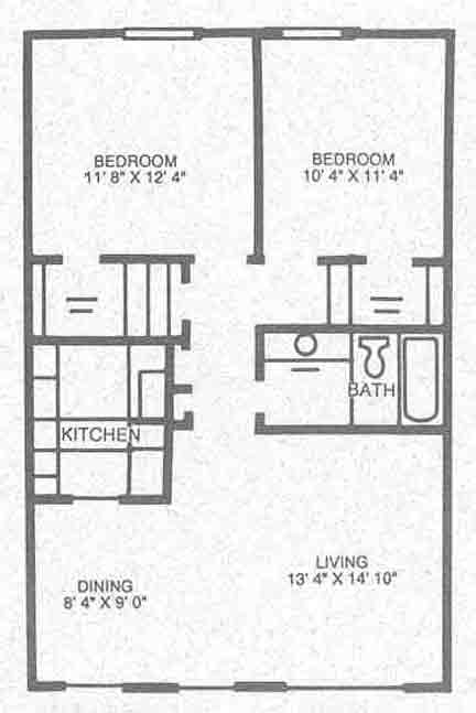 852 sq. ft. B-1 floor plan