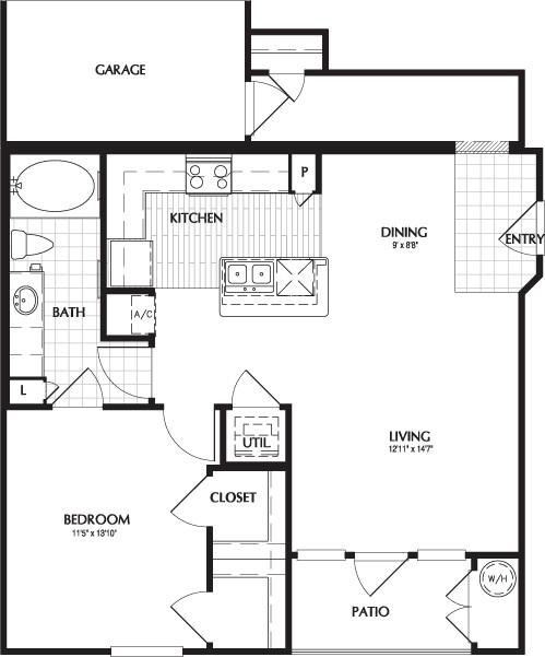 828 sq. ft. GASTON/G floor plan