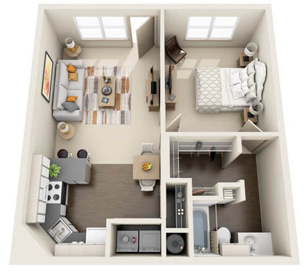 665 sq. ft. 1X1B floor plan