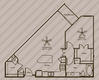 840 sq. ft. Zephyr floor plan