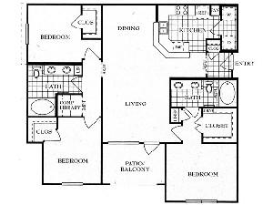 1,360 sq. ft. C floor plan