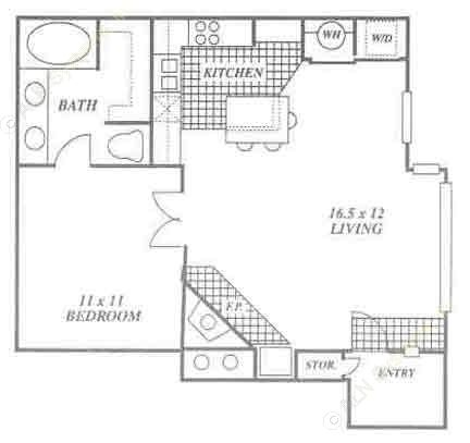 625 sq. ft. 1A floor plan