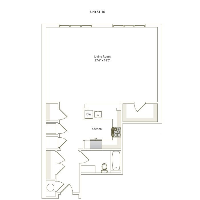 921 sq. ft. S1-10 floor plan
