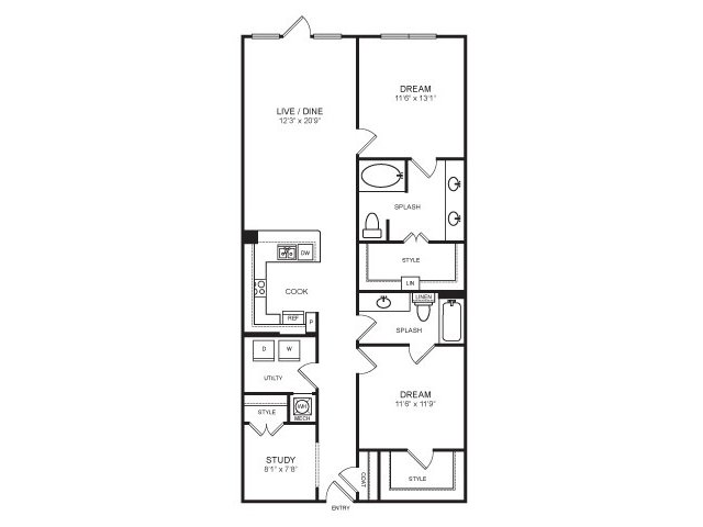 1,309 sq. ft. Katy Trail floor plan