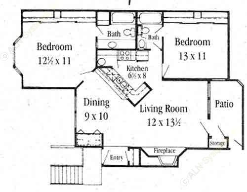 1,088 sq. ft. B-2 floor plan