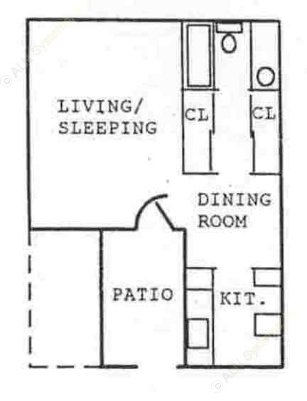 408 sq. ft. EFF floor plan