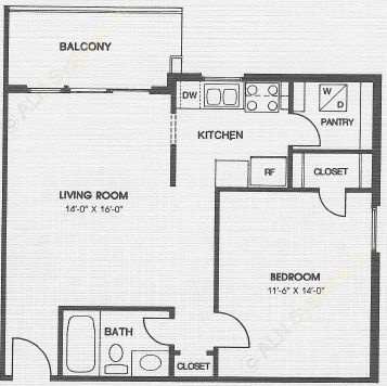 616 sq. ft. to 670 sq. ft. GARDEN floor plan