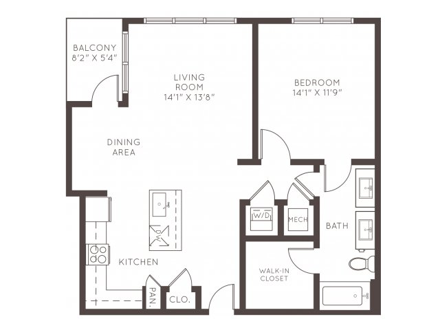 794 sq. ft. A1C floor plan