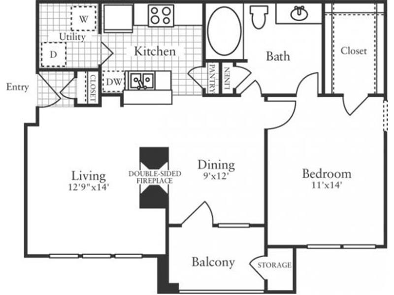 784 sq. ft. A2 floor plan