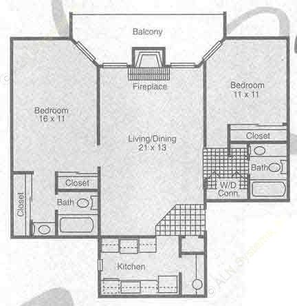 920 sq. ft. B1 floor plan