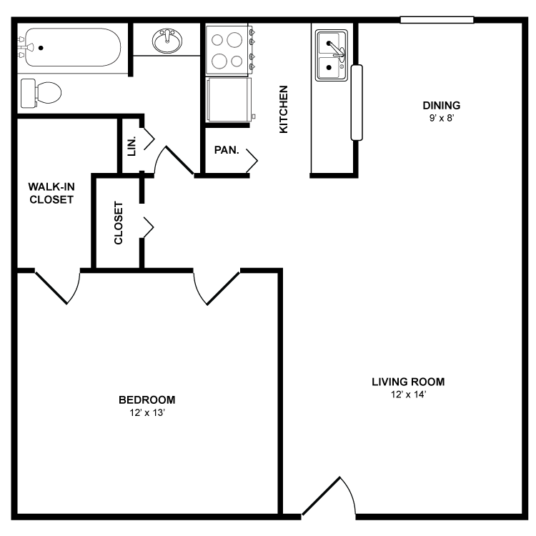 686 sq. ft. Mesquite floor plan