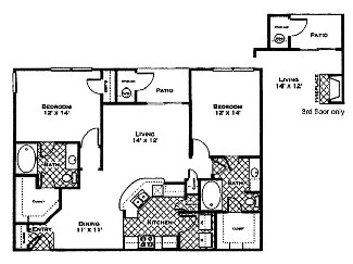 1,165 sq. ft. Cypress floor plan