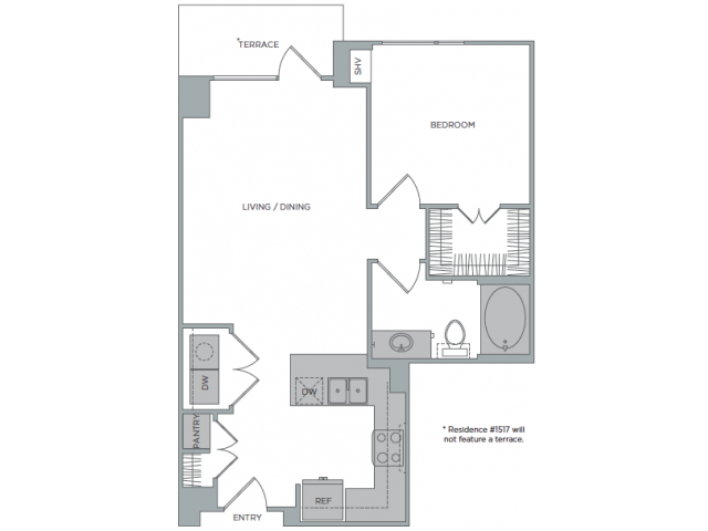 792 sq. ft. 1G floor plan