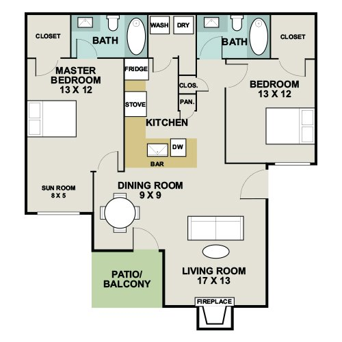 1,093 sq. ft. 2D floor plan