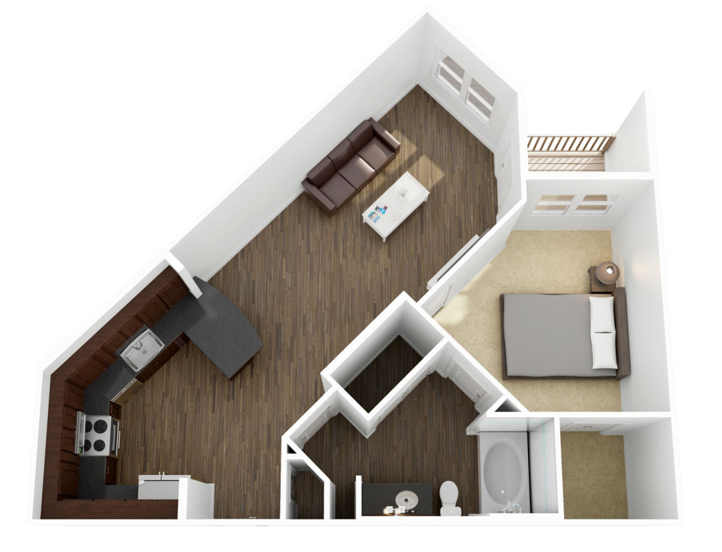 732 sq. ft. A3 floor plan
