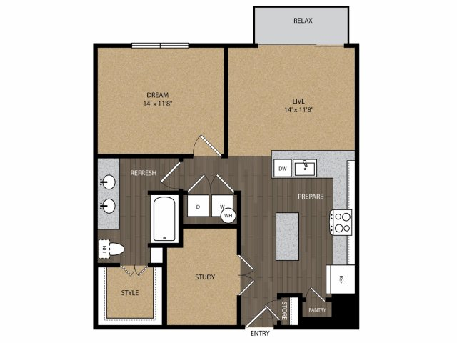 840 sq. ft. University A2 floor plan