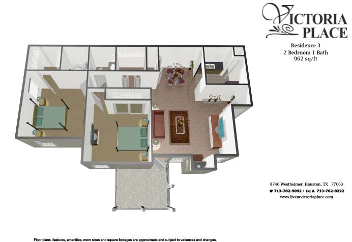 962 sq. ft. C floor plan
