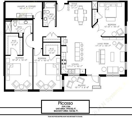 1,970 sq. ft. Picasso floor plan