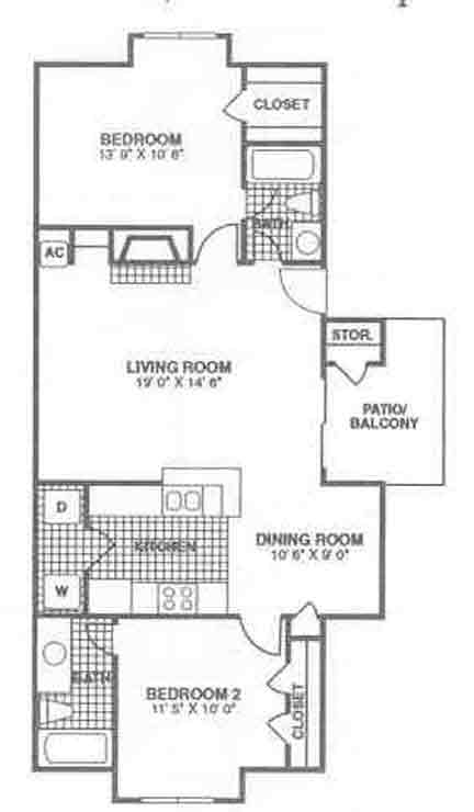 1,030 sq. ft. B4 floor plan