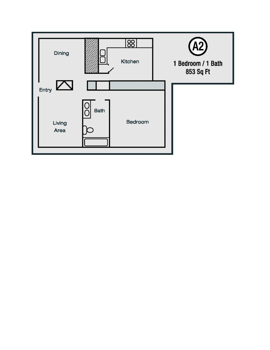 853 sq. ft. A2 floor plan