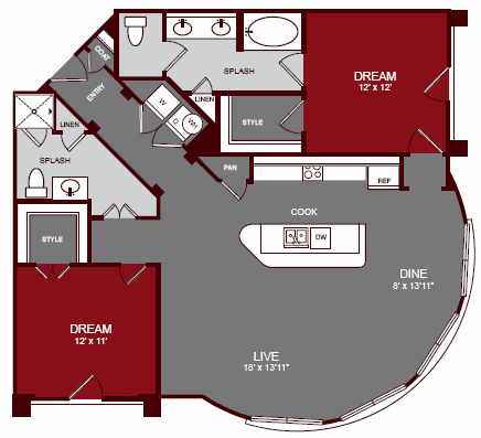 1,282 sq. ft. B3 floor plan