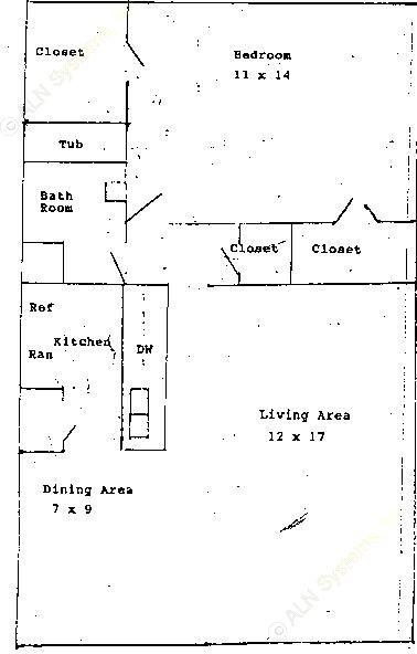 656 sq. ft. A1 floor plan