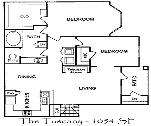 1,000 sq. ft. Tuscany floor plan