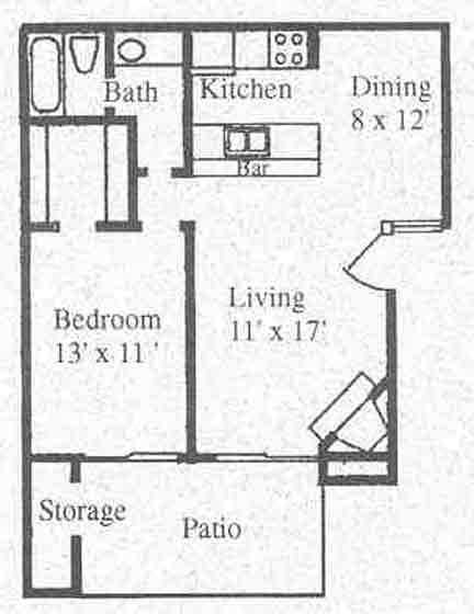 634 sq. ft. A2 floor plan