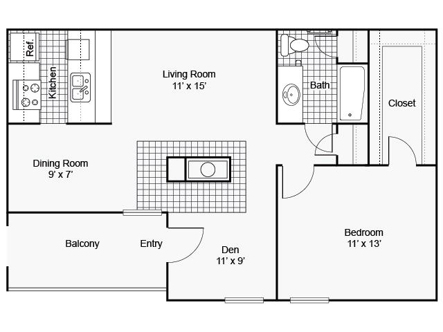 780 sq. ft. I A-7 floor plan