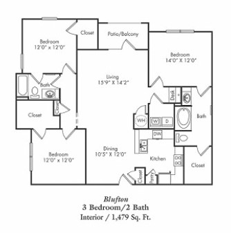 1,479 sq. ft. C1 floor plan