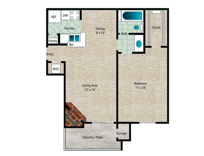 596 sq. ft. Spruce floor plan