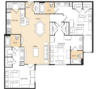 1,422 sq. ft. C2 floor plan