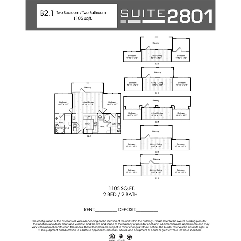 1,105 sq. ft. B2.1 floor plan